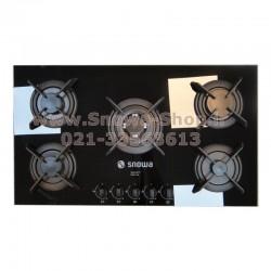 اجاق گاز صفحه ای توکار 5 شعله اسنوا G217 شیشه ای سکوریت  Snowa Built-In Safety Glass Gas Cooker